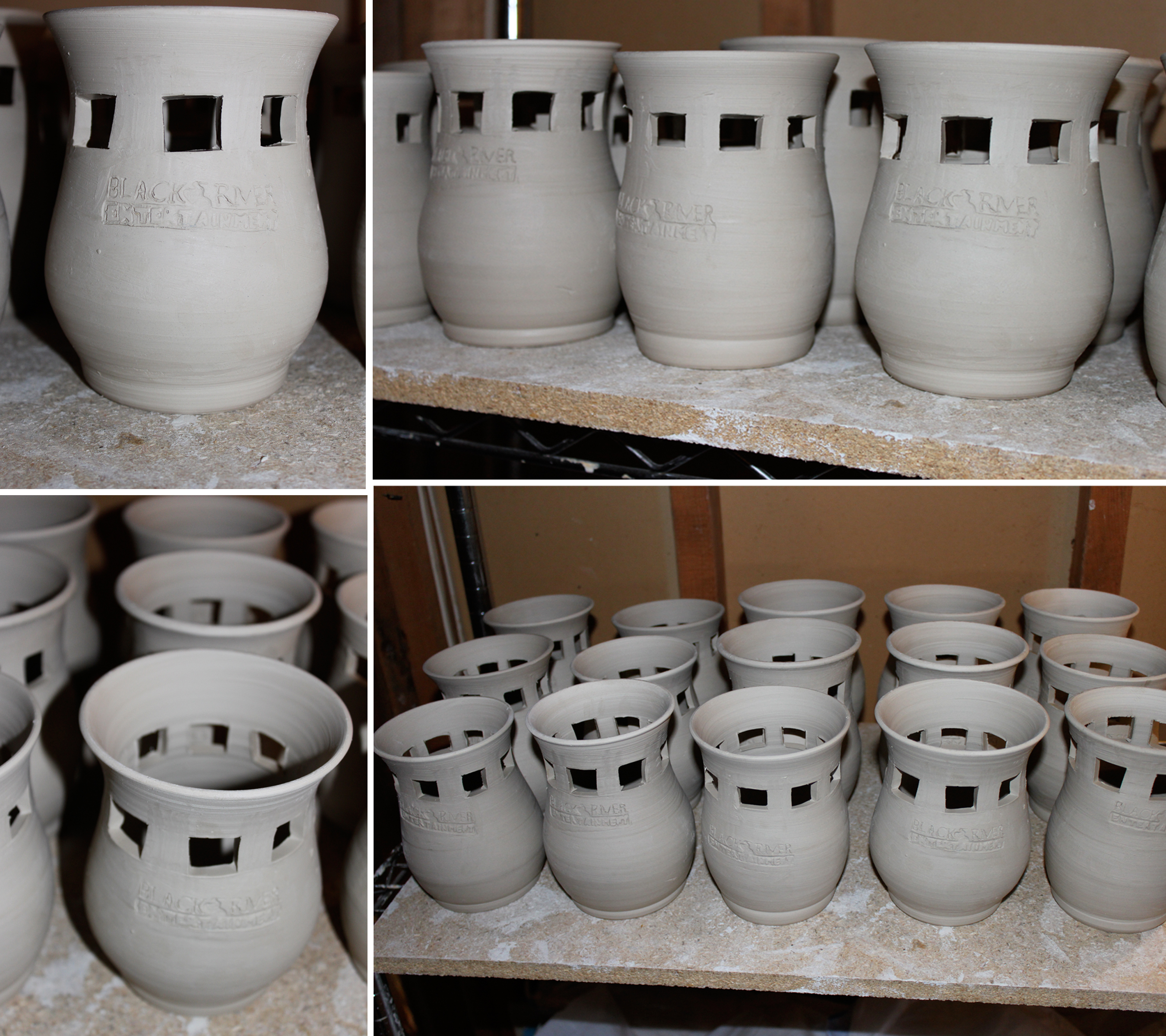 Finished candle pots drying out before a bisque fire